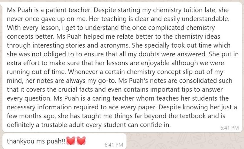 Testimonial Jiayi Chung Cheng High Yishun